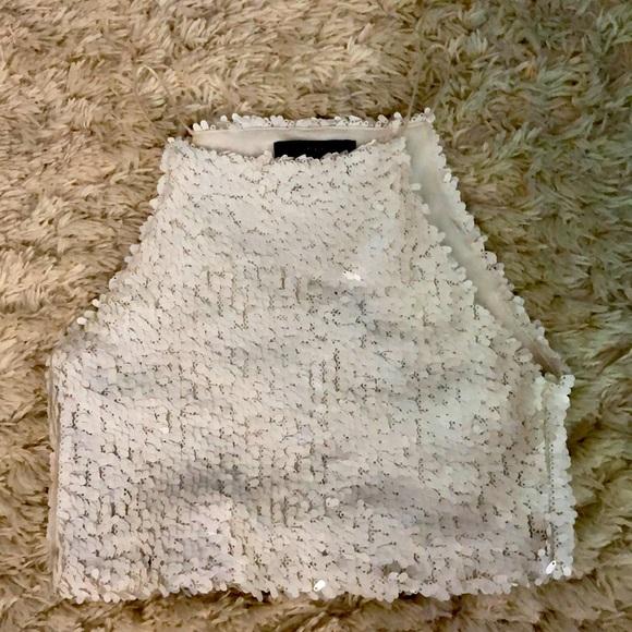 White sequins crop top